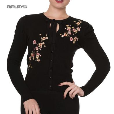 Banned Rockabilly 50s Cardigan Top LAST DANCE Cherry Blossom Black All Sizes