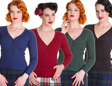 Hell Bunny Ladies 50s V Knit Cardigan Top PIAF Sparkle Vintage Retro All Sizes