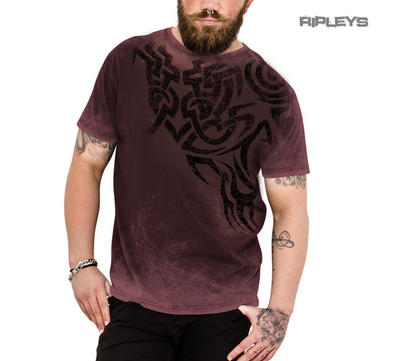 Outer Vision Unisex T Shirt Grunge Vintage Tribal 'Undefeated' Wine Red All Size