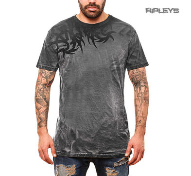 Outer Vision Unisex T Shirt Grunge Vintage Distressed 'Spine' Tribal Grey All Si