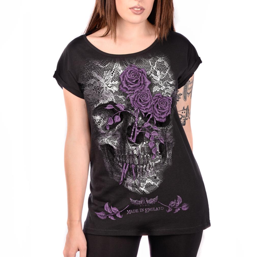 ALCHEMY England Ladies Top Goth Punk Purple Rose /'Lace Skull/' Black All Sizes