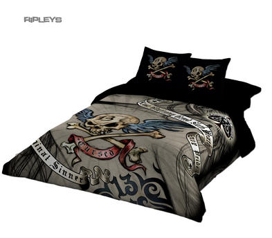 Alchemy Gothic Black BEDDING Double Duvet & UK Pillowcases CURSED Tattoo Skull