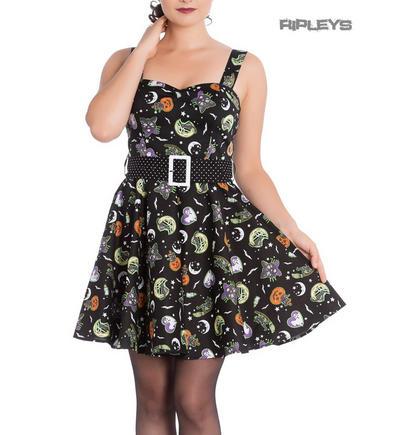 Hell Bunny Gothic Black Mini Dress SALEM Pumpkins Ghosts Halloween All Sizes