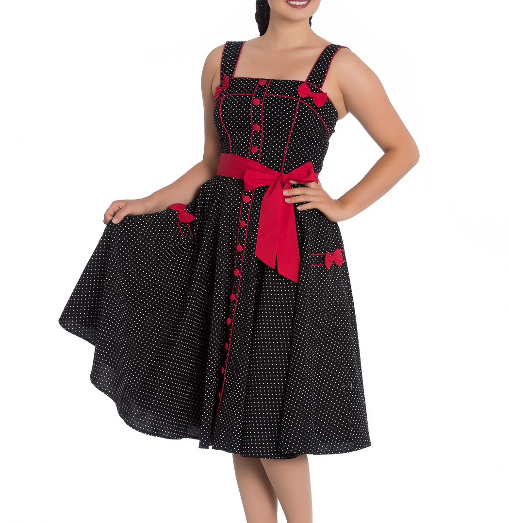 Hell Bunny Rockabilly Pinup MARTIE 50s Dress Polka Dot BLACK Red Bow All Sizes