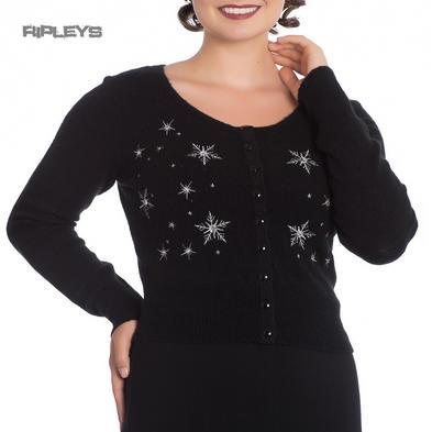 Hell Bunny Ladies Christmas SNOWSTAR Cardigan Top Black Snowflake All Sizes