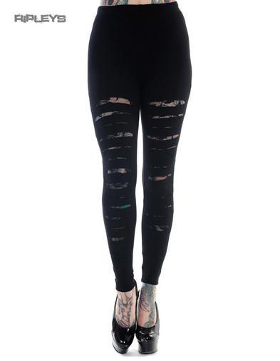 BANNED Punk Goth Grunge Black Rip SLASH LACE Leggings All Sizes