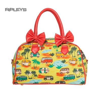 BANNED Clothing PVC Yellow Handbag Bows HELLO LOVER Bag Rockabilly
