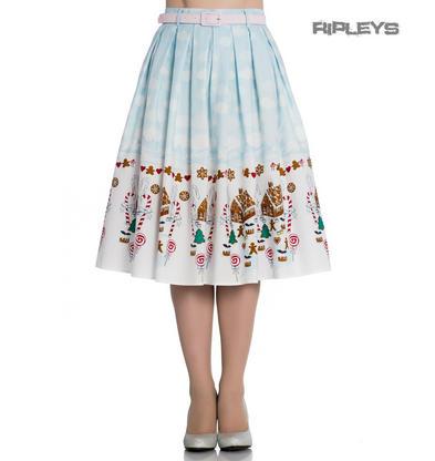 Hell Bunny 50s Blue Festive Christmas Skirt GIGI Snow Gingerbread All Sizes