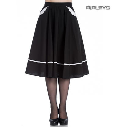 Hell Bunny Gothic White/Black 50s Skirt BATS Halloween Vampire All Sizes