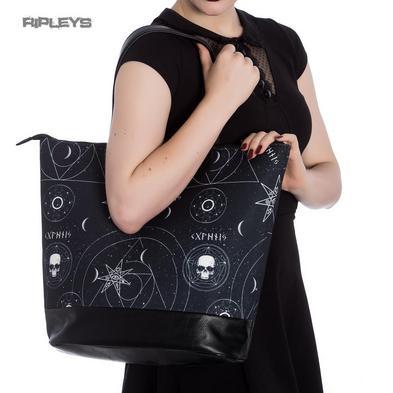 Hell Bunny Goth Punk Large Tote Shoulder DARK MAGIC Witch Black Boho Handbag
