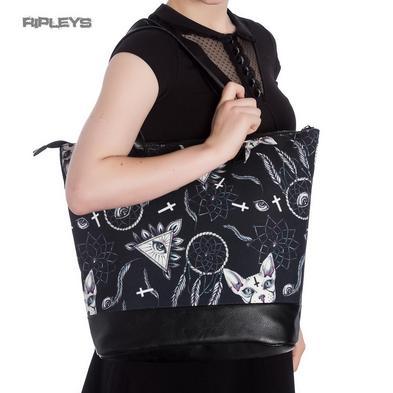 Hell Bunny Goth Punk Large Tote Shoulder ARCANE Cats Boho Handbag