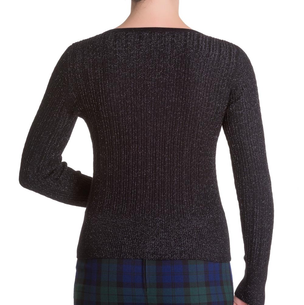 Hell Bunny Ladies 50s V Knit Cardigan Top PIAF Sparkle Vintage Black All Sizes