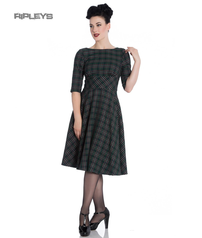 Hell Bunny 40s 50s Pin Up Wartime Dress PEEBLES Green Tartan All ...