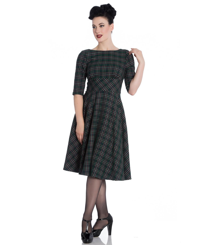 Hell Bunny 40s 50s Pin Up Wartime Dress PEEBLES Green Tartan All Sizes