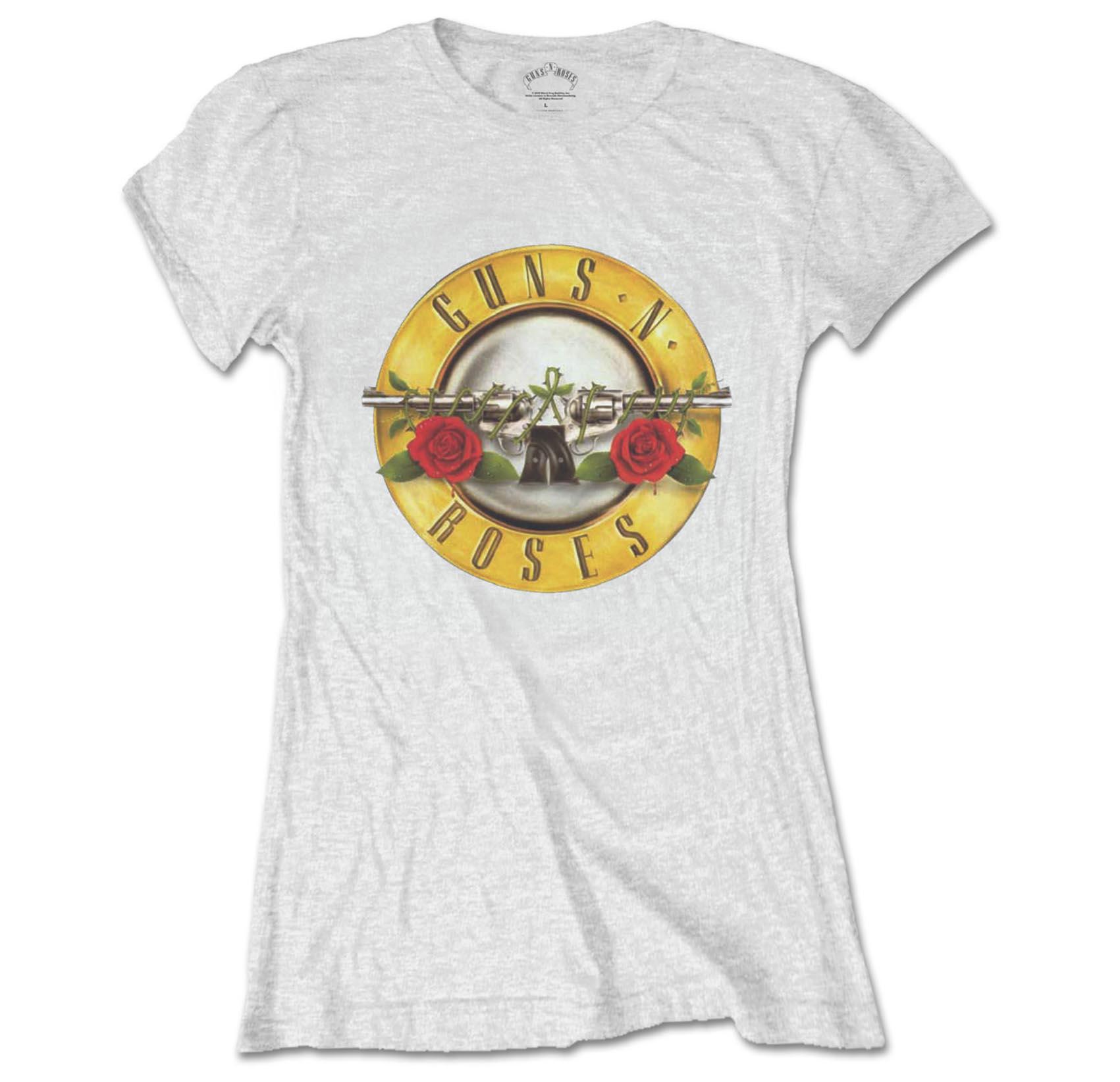 Official Skinny GUNS N ROSES T Shirt Top White Classic Bullet Logo All Sizes