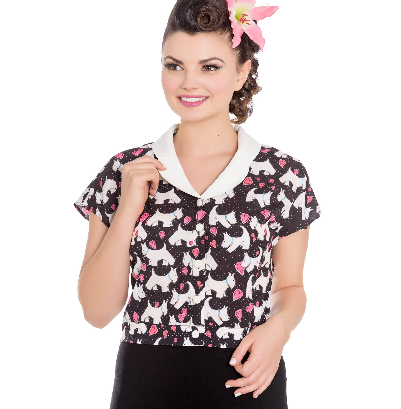Hell Bunny 50s Retro Top Scottie Dog Heart AGGY Cropped Blouse Shirt All Sizes
