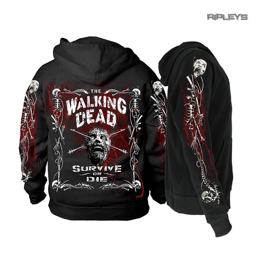 Officiel The Walking Dead Noir Hoody Sweat à capuche Zombie frontière OS Zip Toutes Tailles