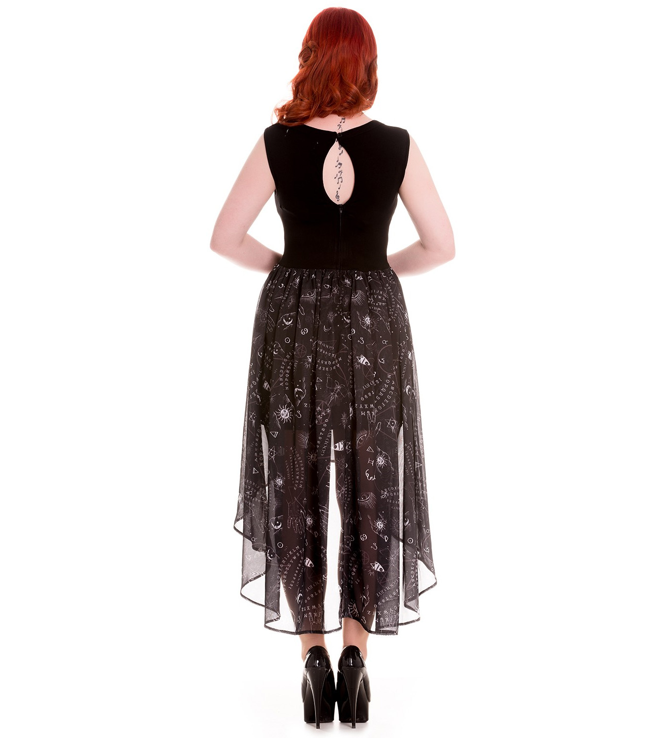 HELL BUNNY Spin Doctor Goth Black Witch Ouija SPIRIT Dress All Sizes