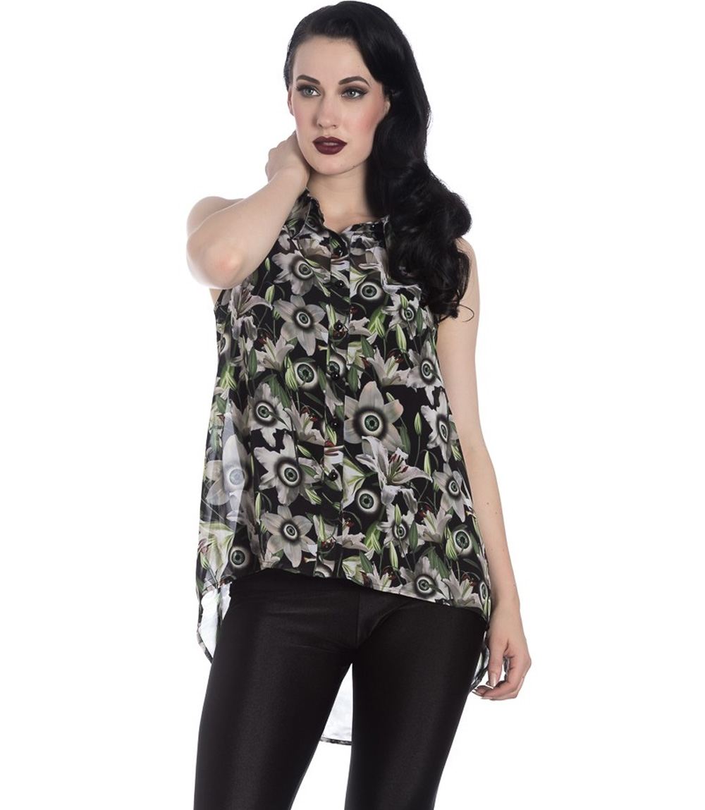 Hell Bunny Shirt Top Goth Punk Globes Oculaires fleurs Peepers chemisier Toutes Tailles