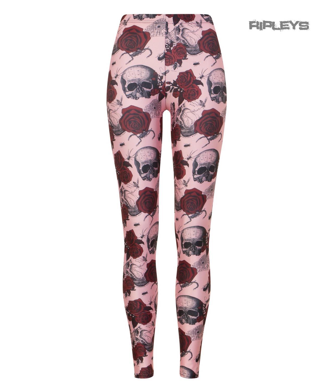 Hell Bunny Gotico Rosa Leggings Sullen Teschi Rose Rosse Tutte Le Taglie