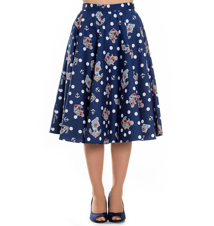 Hell Bunny 50s Rockabilly Blue Polka Dot Skirt OCEANA Anchors Nautical All Sizes