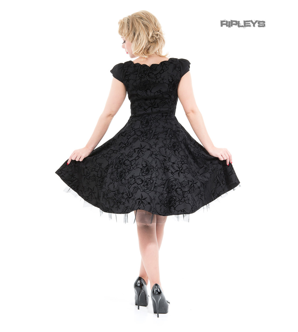 H/&R Hearts /& Roses London 50s Gothic Tattoo Dress /'Flocked/' Black All Sizes