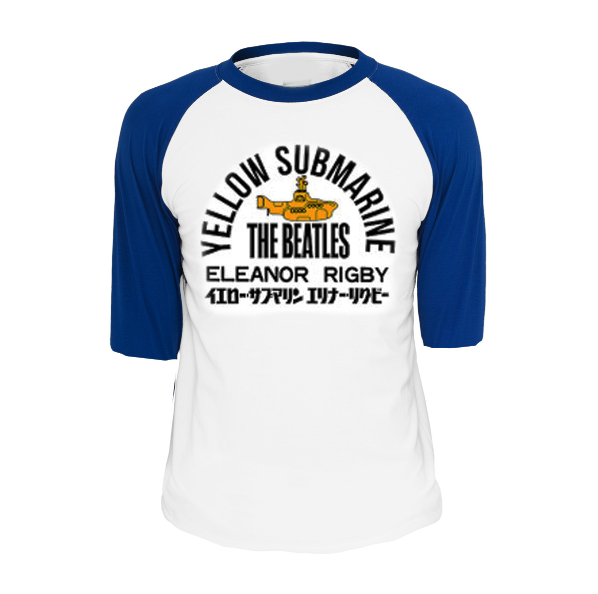 Official T Shirt THE BEATLES Yellow Submarine  Blue Raglan Baseball All Sizes