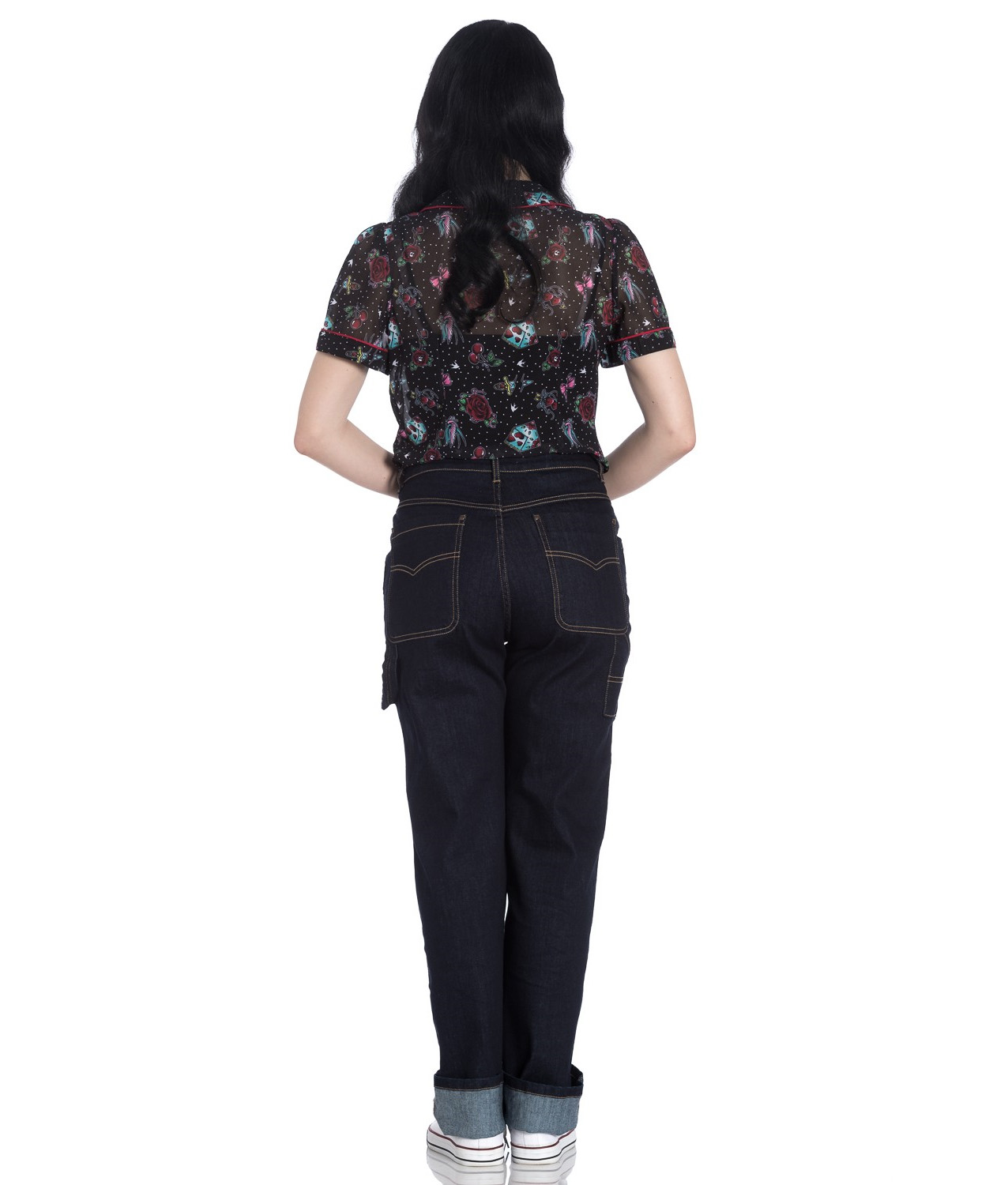 Hell Bunny 40s 50s Navy Blue Denim CARPENTER Jeans Trousers All Sizes