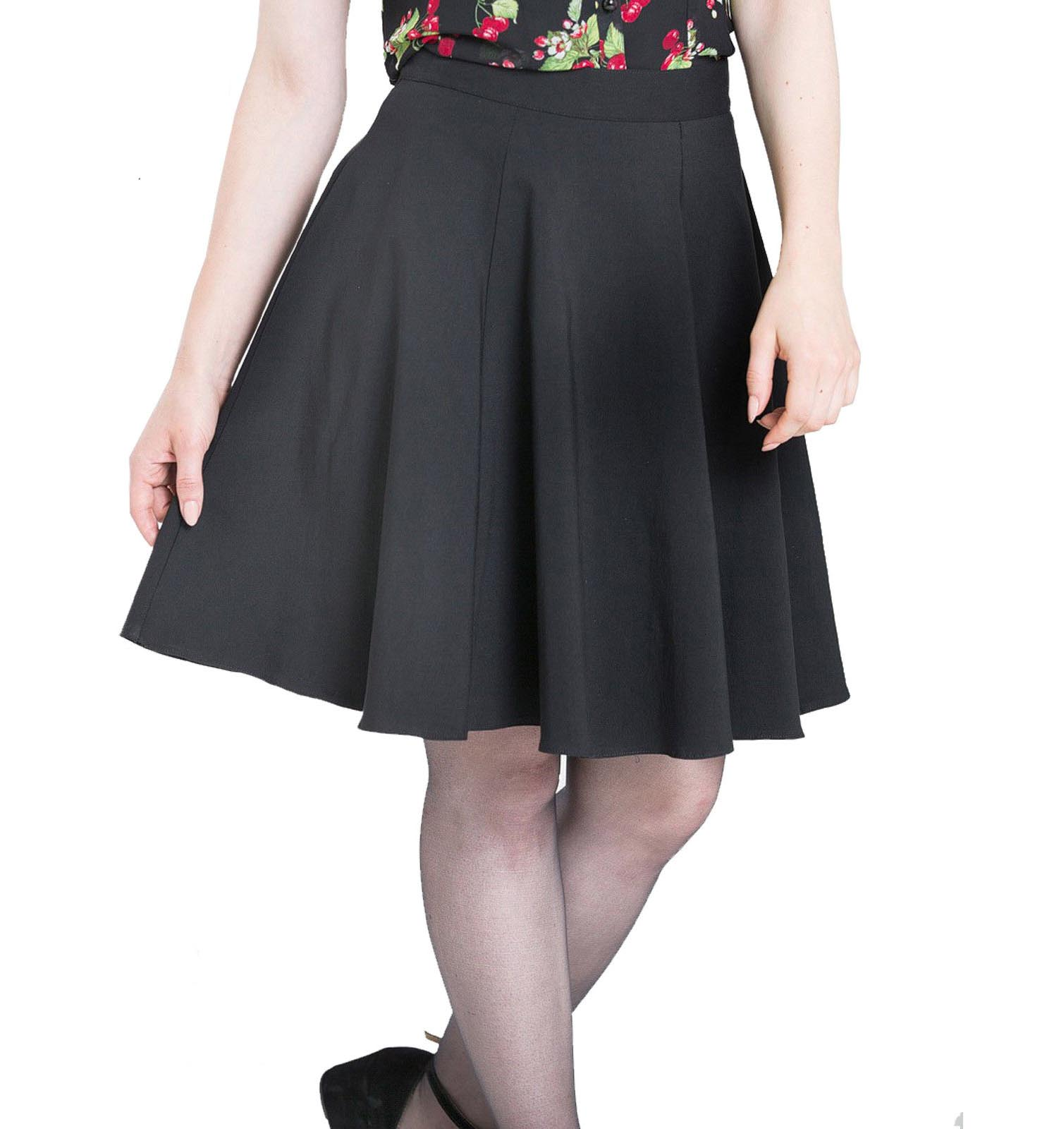 Hell Bunny 50s Rockabilly Pin Up Black GABBY Mini Skater Skirt All Sizes