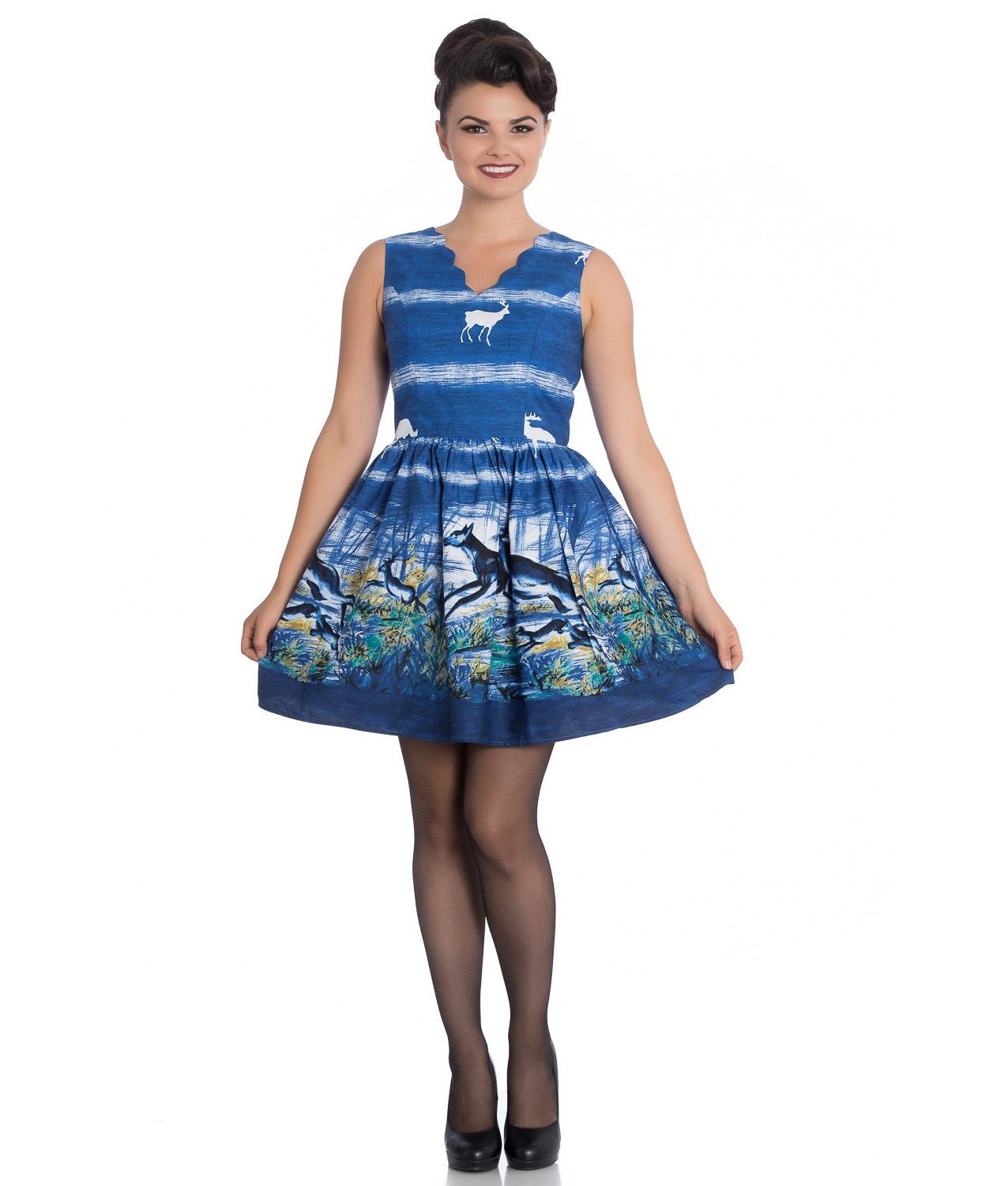 Hell Bunny 50s Vintage Mini Dress MONTANA Blue White Stag Deer All Sizes