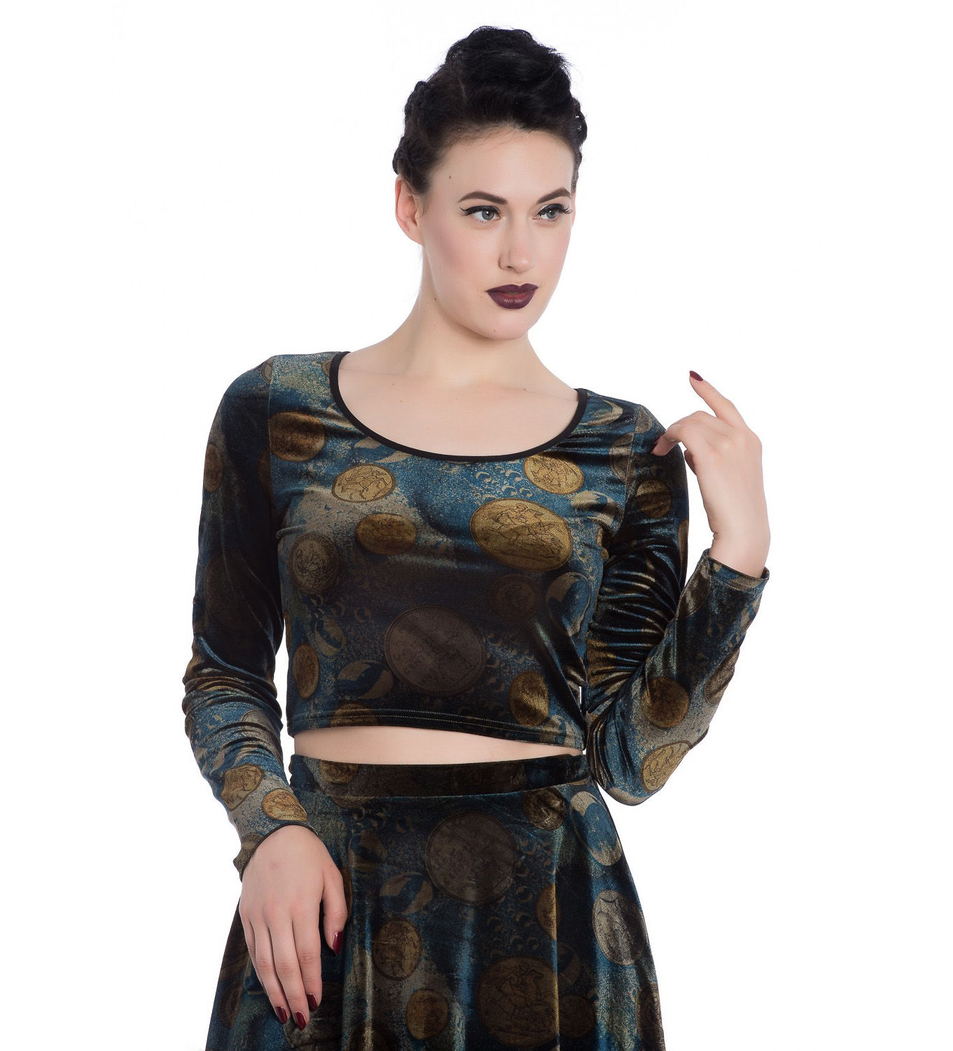 Hell Bunny Gothic Long Sleeve Crop Top FORTUNA Golden Coins All Sizes