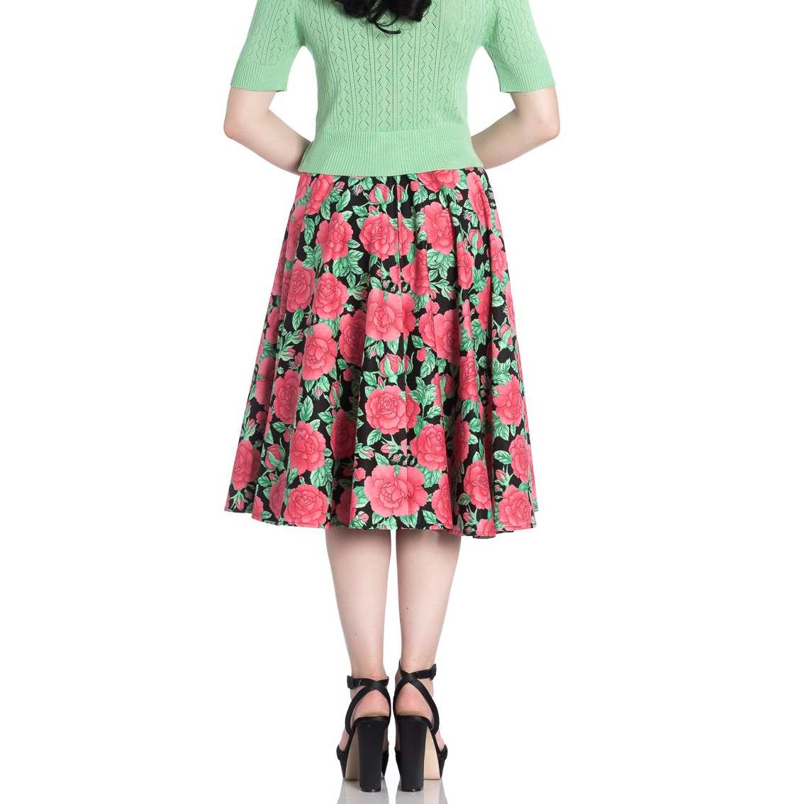 Hell Bunny 50s Vintage Black Skirt Floral Flowers DARCY Pink Roses All Sizes