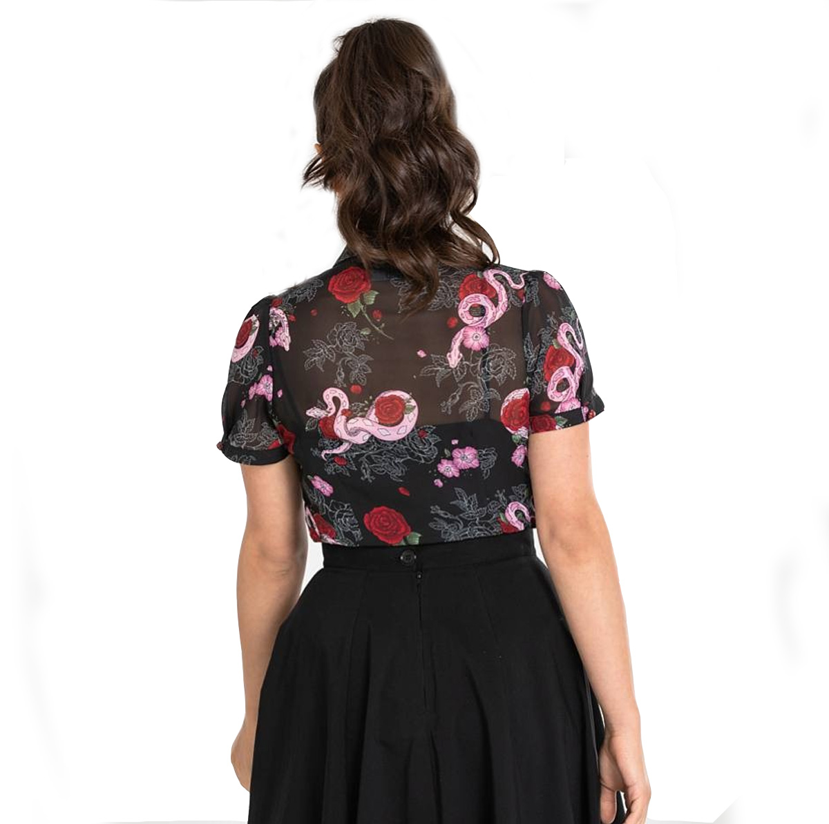 Hell Bunny Shirt Gothic Black Top MEDUSA Blouse Snakes /& Roses All Sizes