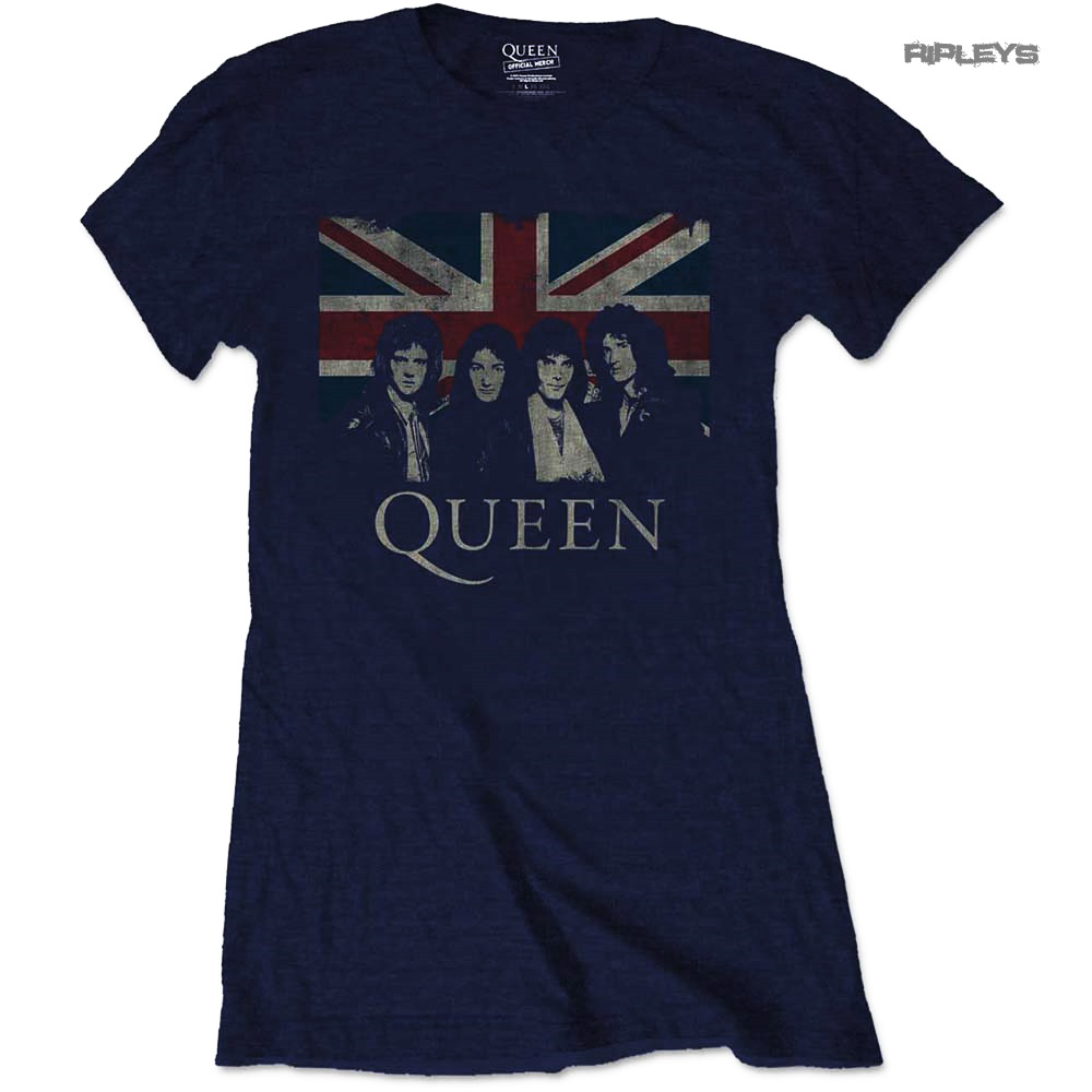 Official Skinny QUEEN T Shirt Bohemian Rhapsody UNION Navy Blue All Sizes
