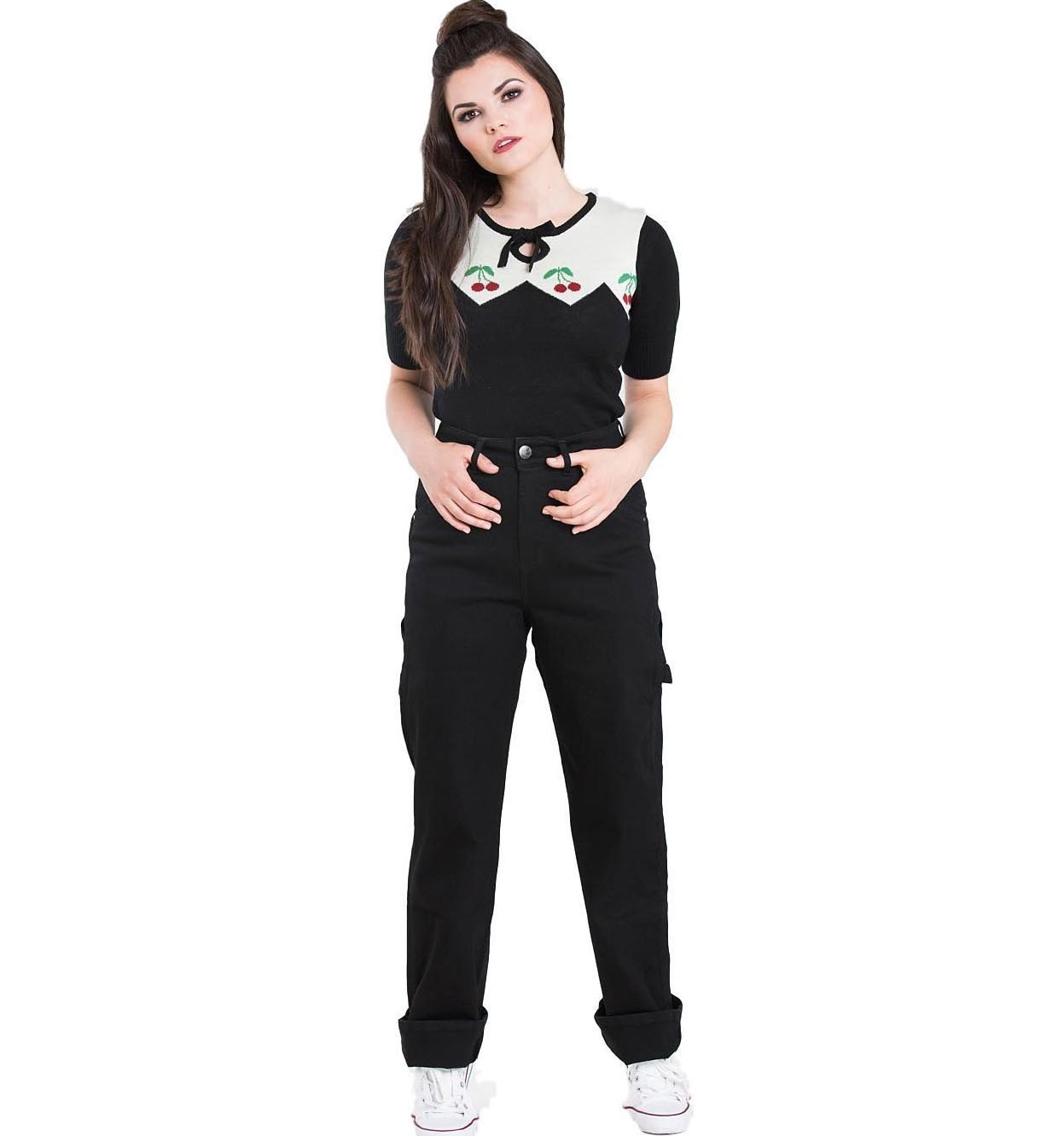Hell Bunny 40s 50s BLACK Denim CARPENTER Rockabilly Jeans Trousers All Sizes