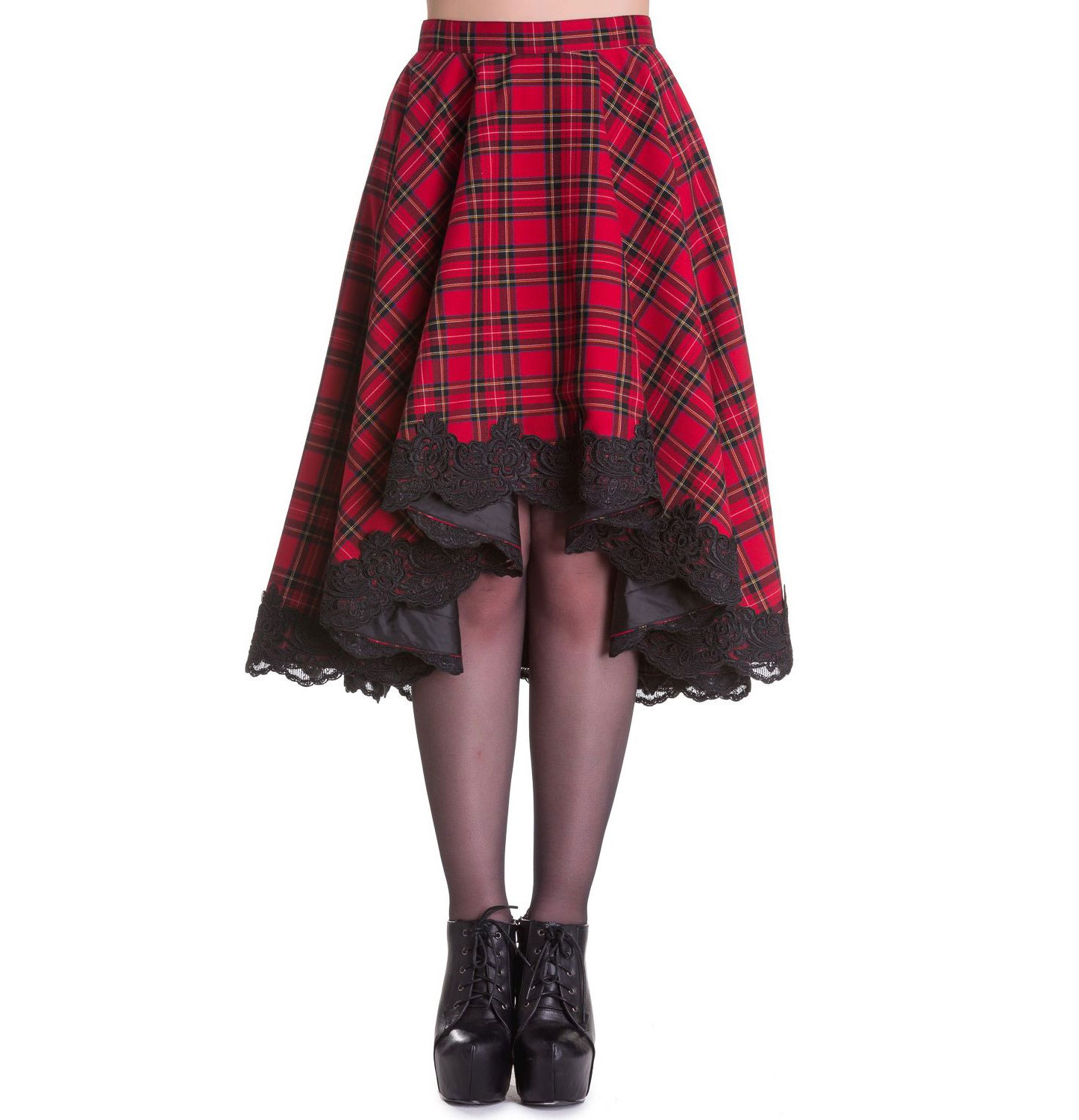 Hell Bunny Spin Dr 50s Lace Gothic Punk LUCINE Red Tartan Midi Skirt All Sizes
