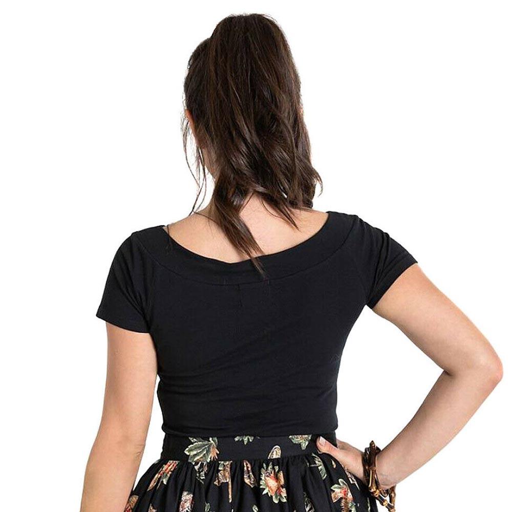 Hell Bunny Shirt 50s Rockabilly Shirt Top ALEX Jersey V Neck Black All Sizes
