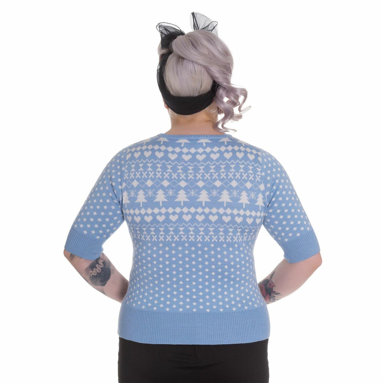 Hell Bunny Winter Christmas Jumper KATHERINE Snowflake Sky Blue All Sizes