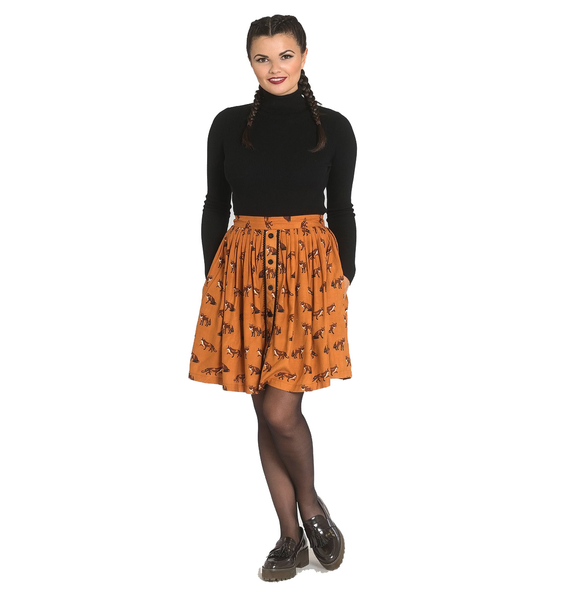 Hell Bunny Vintage 50s Brown Mini Skater Skirt VIXEY Fox Print Vixen All Sizes