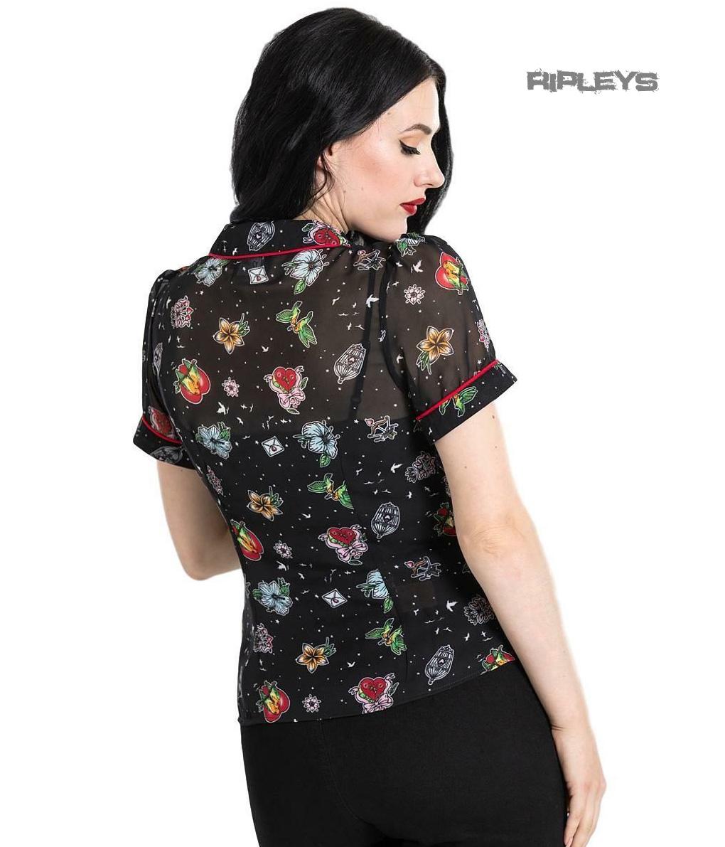 Hell Bunny shirt top noir inséparable Chemisier Rétro Vintage Fleurs Toutes Tailles
