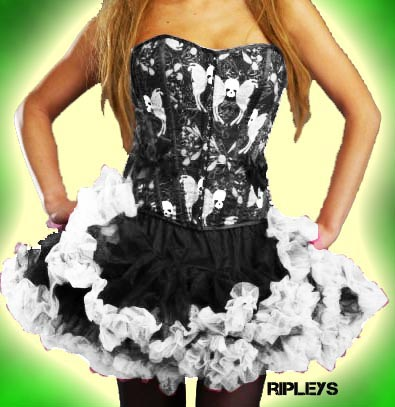 HELL BUNNY Black WHITE TUTU Skirt Burlesque 14 16 18 Enlarged Preview