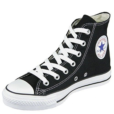 Converse All Star HI Canvas Pumps Trainers Shoes Black/White Size 3 - 11 Preview