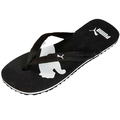 puma basic cat logo sandals flip flops black white mens womens size. Black Bedroom Furniture Sets. Home Design Ideas