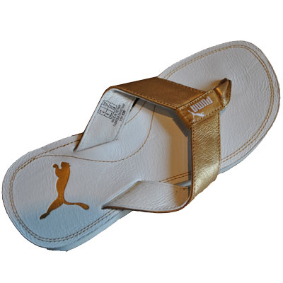 Puma Drifter Leather Flip Flops Sandals White/Gold Womens Size Preview