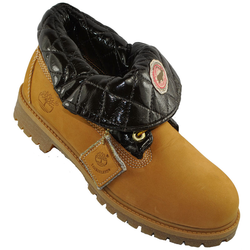 timberland roll top boots wheat brown junior boys ebay