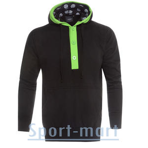 View Item Raiken 3 Button Hooded Top Hoody Black/Green Mens