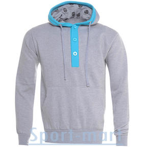 View Item Raiken 3 Button Hooded Top Hoody Grey/Blue Mens