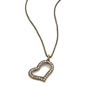 Ladies Burn Gold Long Diamante Heart Pendant Necklace