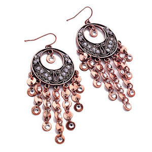 Ladies Bronze Copper Diamante Dangle Long Earrings