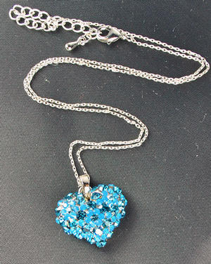 Swarovski Crystal Blue Flower Heart Pendant Necklace